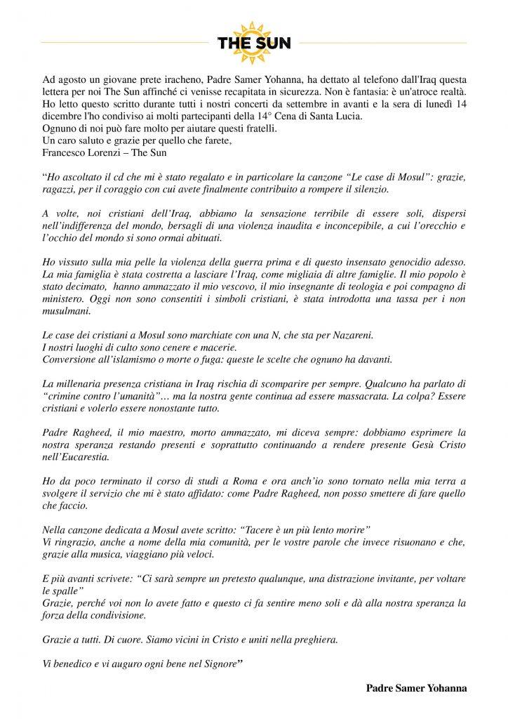 The Sun lettera Padre Samer Johanna Cuore Aperto Francesco Lorenzi
